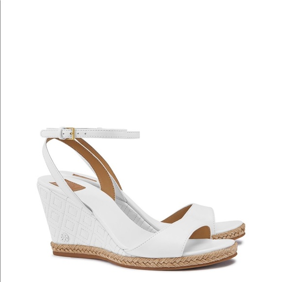 a4ab630bff4c Tory Burch Marion White quilted leather wedges 9.5